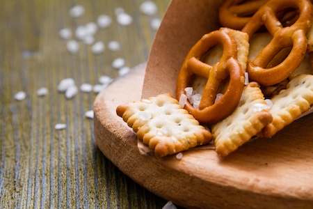 Delicious salty snack of pretzels and crackers